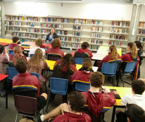 Nathan Slachter having a good conversation with students at Williamstown High School (2015)