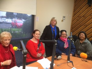 "Ann Hutchinson with Mimi Laurilla and Make Lakatani at CASEY FM for ""Hot Topics with Rita"" (2014)"