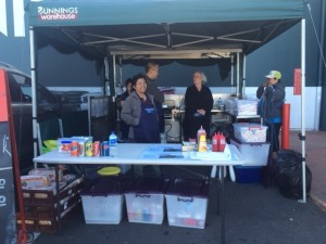 Speakers Bank participated at a Bunnings weekend sausage sizzle to raise funds for its activities (2014)