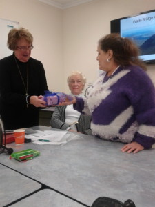 "Heather Boreham receiving her token of appreciation from the group ""Inspiring Women"" led by Rita Hartney (2014)"