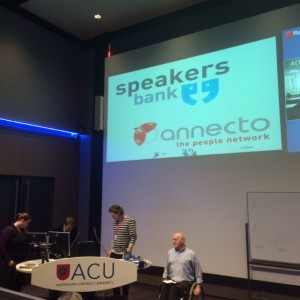 Rufus Uulf speaking to students of nursing at Australian Catholic University with live virtual conferencing at the Sydney campus (2014)